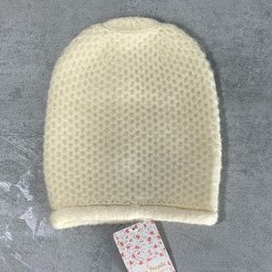 Free People Ivory Dreamland Knit Beanie O/S  This